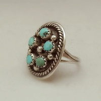 OLD PAWN Vintage Native American Turquoise RING Petit Point Snake Eye Cluster Sterling Silver Zuni Ring Size 6 c.1950s, Valentine Gift