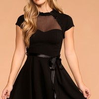 Miranda Black Bow Skater Dress