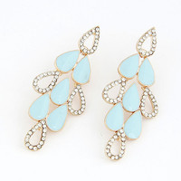 Simple Style Light Blue Drop-shaped Earring with Shiny Diamond, Lady-wearing Jewelry, Women's Fashion Accessory, Party Jewelry 10062780