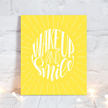 WALL ART QUOTE - Wake Up and Smile - Office Quotes - Inspirational Quote - Motivational Quote - Typography Decor - Single Canvas or Print