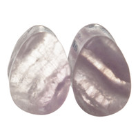 0g (8mm) Fluorite Teardrop Stone Plugs #6437