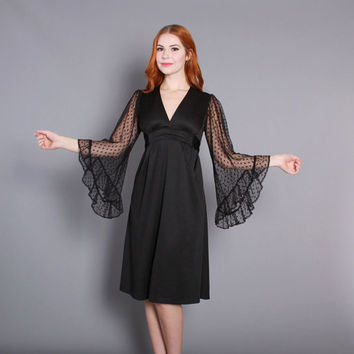 70s WITCHY Black DRESS / 1970s LACE Angel Sleeve Disco Goth Dress xs s