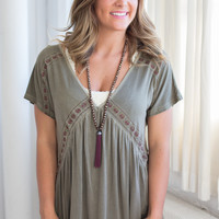 Deep V Neck Embroidered Top - Olive