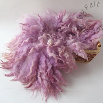 Flokati  Fur Felt Rug Dusty Pink Blanket Layer Fluffy Fleece Real Wool by FeltFur RTS