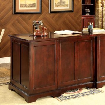 Desmont Transitional Style Office Desk With Multiple Drawers, Cherry