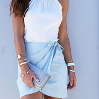 Light Blue Wrap Front Mini Skirt