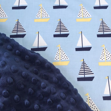 Baby Boy Blanket, Sailboat Blanket, Nautical Crib Bedding, Minky Blanket, Nautical Nursery, Preppy Boy Blanket, Classic Boy, Made to Order