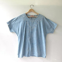 vintage jean shirt. short sleeved denim shirt. oversized jean top.