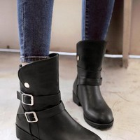 New Women Black Round Toe Mid Double Buckle Casual Boots