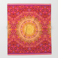 Love Will Find A Way -- Kaleidescope Mandala in the colors of Love Throw Blanket by V. Sanderson / Chickens In The Trees | Society6