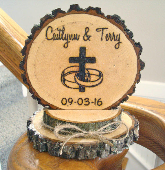Cross With Wedding Rings Cake Topper