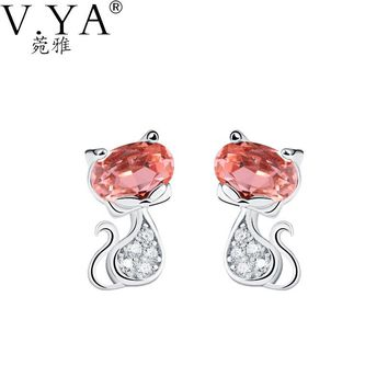 100% Real 925 Sterling Silver Earrings for Women High Quality Crystal S925 Solid Silver Cate Earring CE182