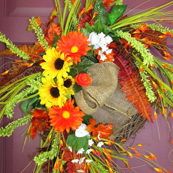 Fall wreath, Autumn wreath, fall door wreaths, grapevine wreath, thanksgiving decor, sunflower wreath, fall decorations, elegant wreath