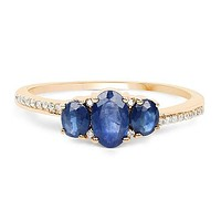 A Vintage 14K Yellow Gold 2.8TCW Genuine Blue Sapphire and Natural White Diamonds Journey Ring