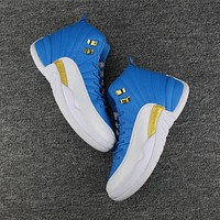 Nike Air Jordan Retro 12 Men Sneakers White Royal Blue Sports Shoes