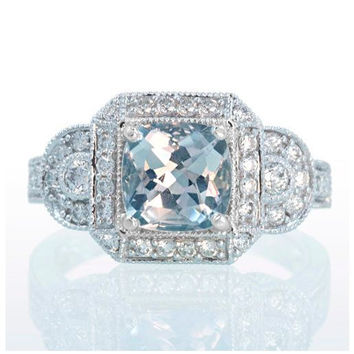 White Gold Aquamarine Vintage Style Halo Three Stone Engagement Anniversary Band Wedding Ring