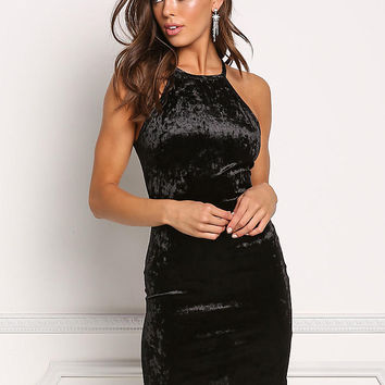 Black Crushed Velvet Bodycon Dress