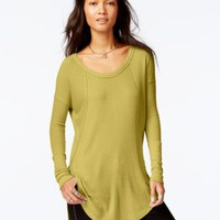 Free People Scoop-Neck High-Low Thermal Tunic | macys.com