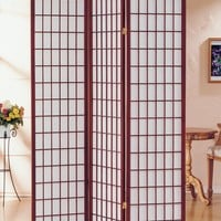 3-Panel Pine Wood Room Divider Cherry Red