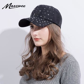 Trendy Winter Jacket Rhinestone Female Baseball Cap Lady Women Bling Diamond Hat Gorras Snapback Hip Hop Hat Casquette Solid color AT_92_12