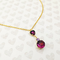 Amethyst Jewelry - Valentines Gift - Wedding Jewelry - Purple Jewelry - Stainless Steel Necklace - Wife Gift - Heart Pendant - Gold Necklace