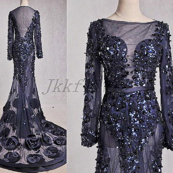 Vintage Court Style Dark Navy Full Sleeves Evening  Dresses,See Through Back Prom Dresses,Tull Beaded Sequined Party Dresses