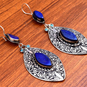 FREE SHIPPING Afghan Kuchi Earrings,Blue Lapis Stone,Carved Ethnic Earrings,Hippie Jewelry,Tribal Earrings,Belly Dancing,Gypsy Boho Earrings