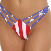 American Flag Strappy Thong