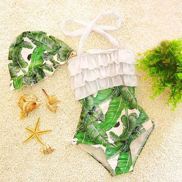 Leaf Printed Girls Swimwear W/Cap One Pieces Baby Children Swimsuits Kids Children Bathing Suits Swimming Clothes 2017DCO