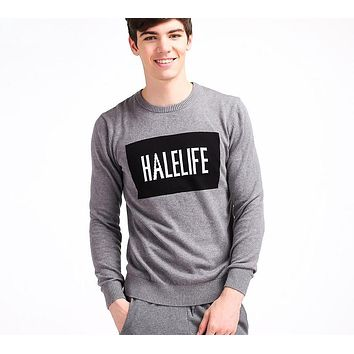 Men Pullover Sweater Basic Classic Sweaters Letter Computer Knitted Pattern Sweaters