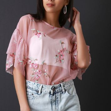 Floral Mesh Bell Statement Sleeve Top
