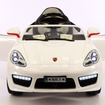 Sport Style 12V Kids Ride-On Toy Car MP3,Battery Powered Wheels RC Remote   White