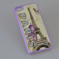 MagicPieces Plastic Snap on Case with Shaking Rhinestones for iPhone Paris Purple iPhone 4/4S