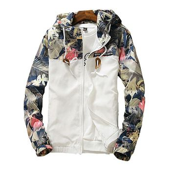 Danjeaner Floral White Women Jacket Autumn Winter Slim Warm Bomber Jacket Coats Plus Size Windbreaker Lace Up Streetwear