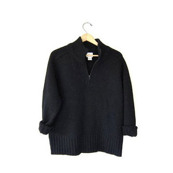 Vintage black wool sweater. Thick chunky knit ZIP UP pullover sweater. Women's Large