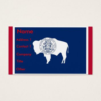 Business Card with Flag of Wyoming, U.S.A.