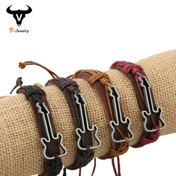 Classic Geometric Metal Hollow Guitar Wrap Bracelet For Couples Real Leather Strap Color Hemp Rope Cuff Bracelet Vintage Jewelry