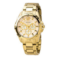 Guess U0232L2 Women's Sports Mid-Size White Dial Gold Plated Steel Bracelet Watch