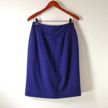 Vintage TALBOTS High Waisted Plaid Skirt - Royal Blue Pencil Skirt - Wool - Sz 6 / 8
