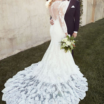 Don's Bridal Hot Selling Real Sexy Lace Trumpet Mermaid Wedding Dress Chapel Train Romantic Long Sleeve Bride Gowns 2016