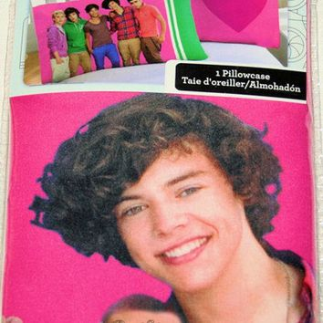 Licensed cool NIP Licensed 1D One Direction Boy Band Harry PINK HEART Reversible Pillowcase