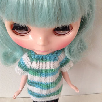 Neo Blythe, Knit Top, Blythe Knitted Top, Knit Doll Top, Knit Doll Clothes, Knit Blythe Top, Knit Striped Top