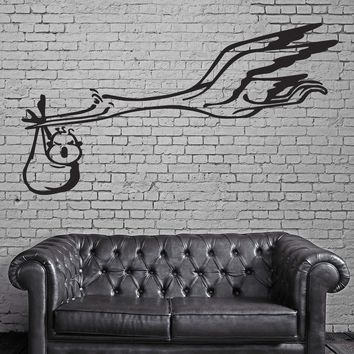 Flying Stork and Baby Funny Animal Kids Wall Art Decor Vinyl Sticker Unique Gift z031