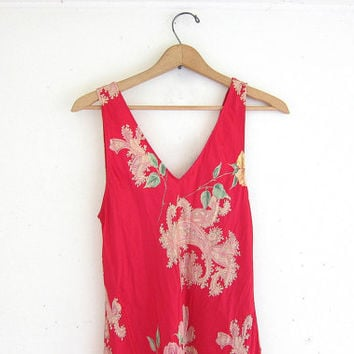 Vintage silk slip dress. Long floral sun dress. slinky dress. pretty pink dress