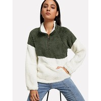 Drop Shoulder Quarter Zip Sweatshirt