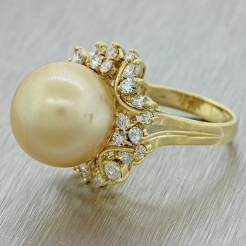 1970s Vintage 18k Yellow Gold South .90ctw Diamond Golden South Sea Pearl Ring