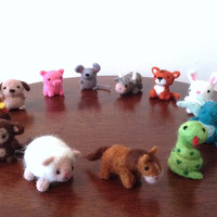 Needle Felted Chinese Zodiac Wool Miniatures Set - Rat Ox Tiger Rabbit Dragon Snake Horse Sheep Monkey Rooster Dog Pig - Felted animals