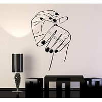 Vinyl Wall Decal Beauty Salon Cosmetics Hand Woman Girl Room Stickers Unique Gift (055ig)