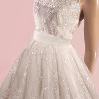 Unique/Short /wedding /beading  lace dress /reception A-Line  dress  embroidered with delicate beads and sequins