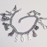 SOA Inspired Charm Bracelet - Sons Of Anarchy Inspired Jewelry - The Crow Flies Straight Jewelry - Jax Teller Inspired Jewelry